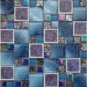 Leaf Square Glass 30x30 Blue