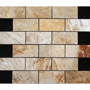 Travertine Leonardo Brick 30.5x30.5 Beige Polished 1