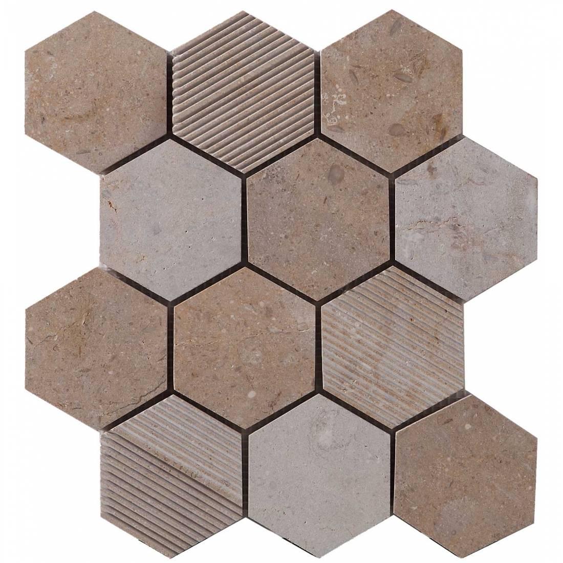 Hex Mosaic Texture 23.1x26.7 Beige Matt 1