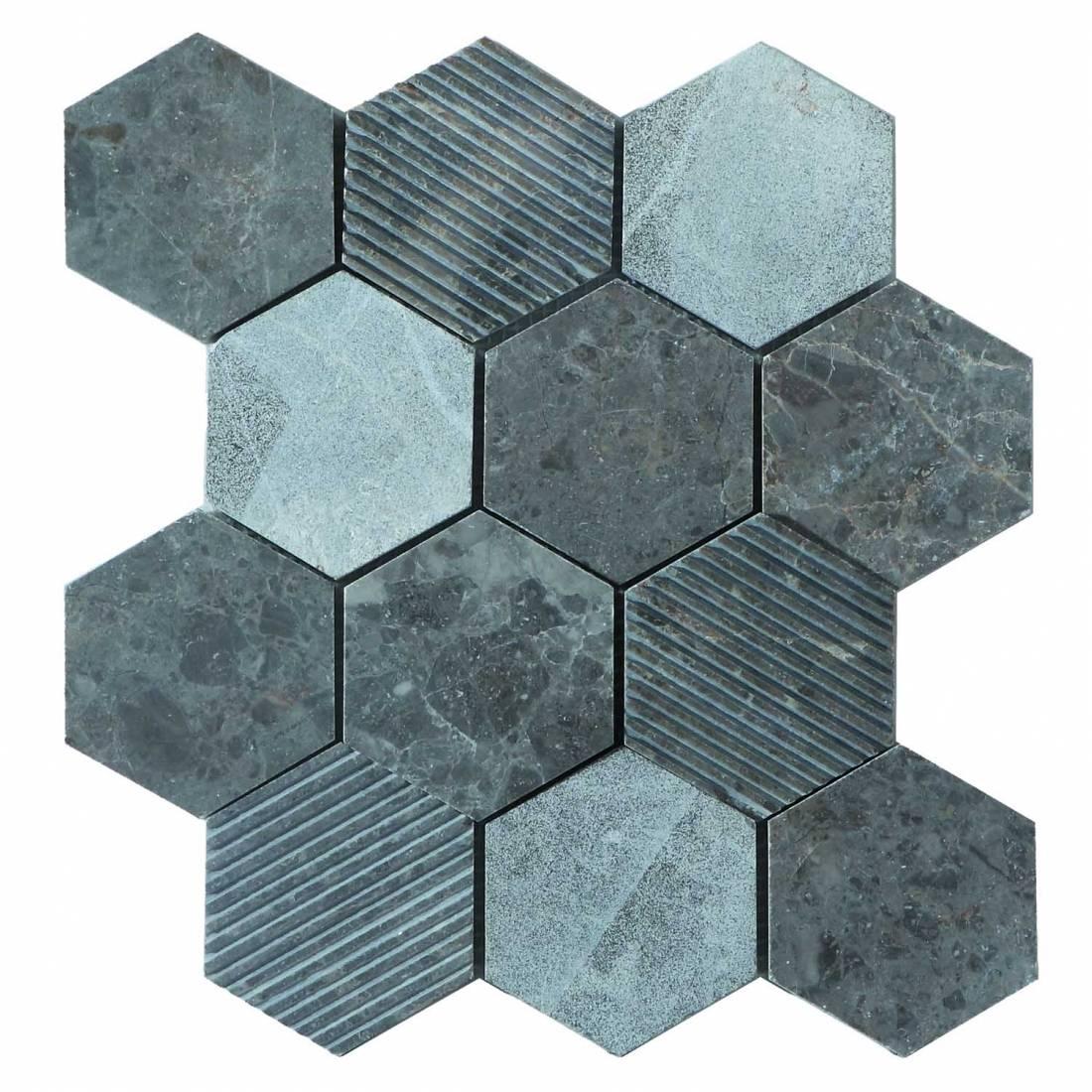 Hex Mosaic Texture 23.1x26.7 Grey Matt 1