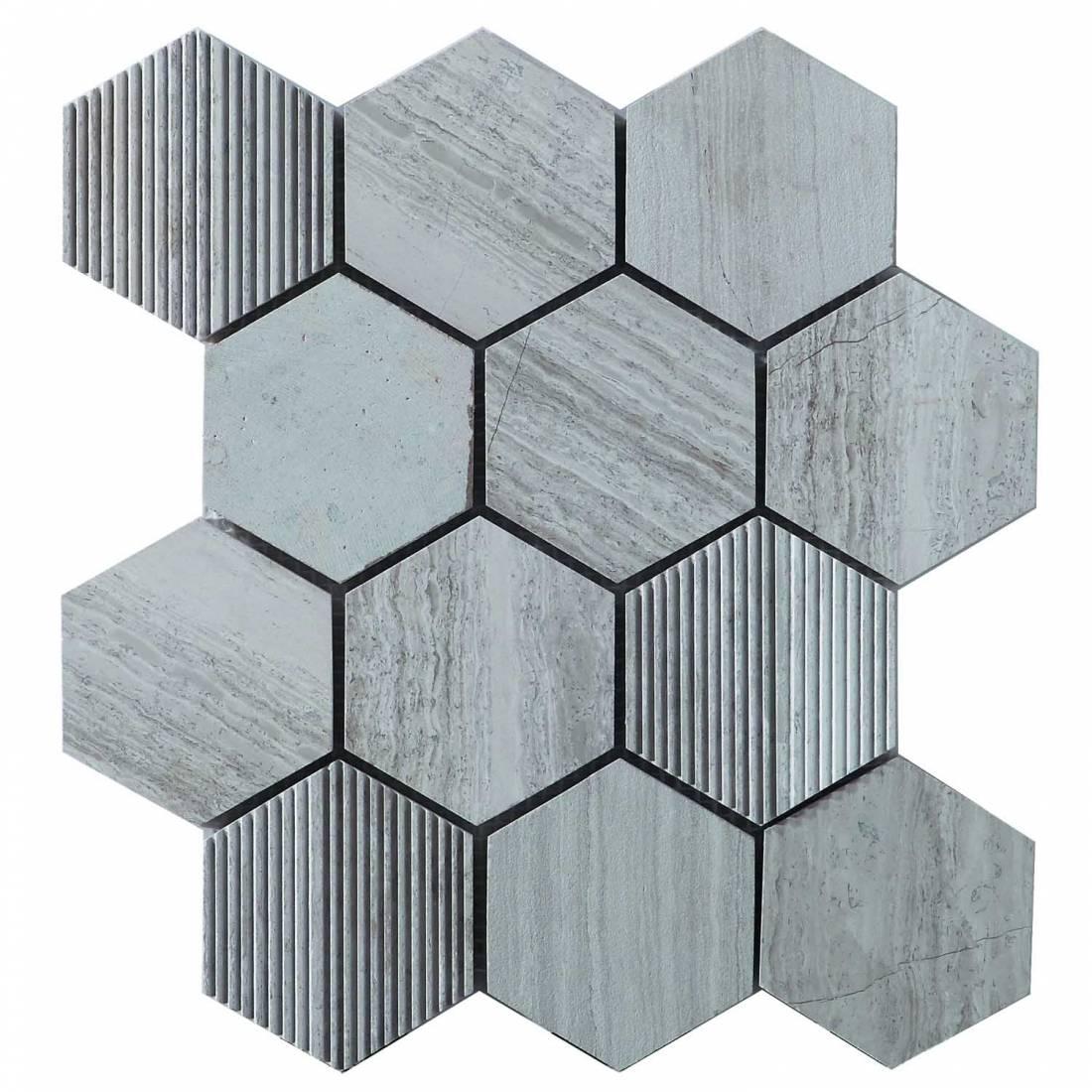 Hex Mosaic Texture 23.1x26.7 White Matt 1