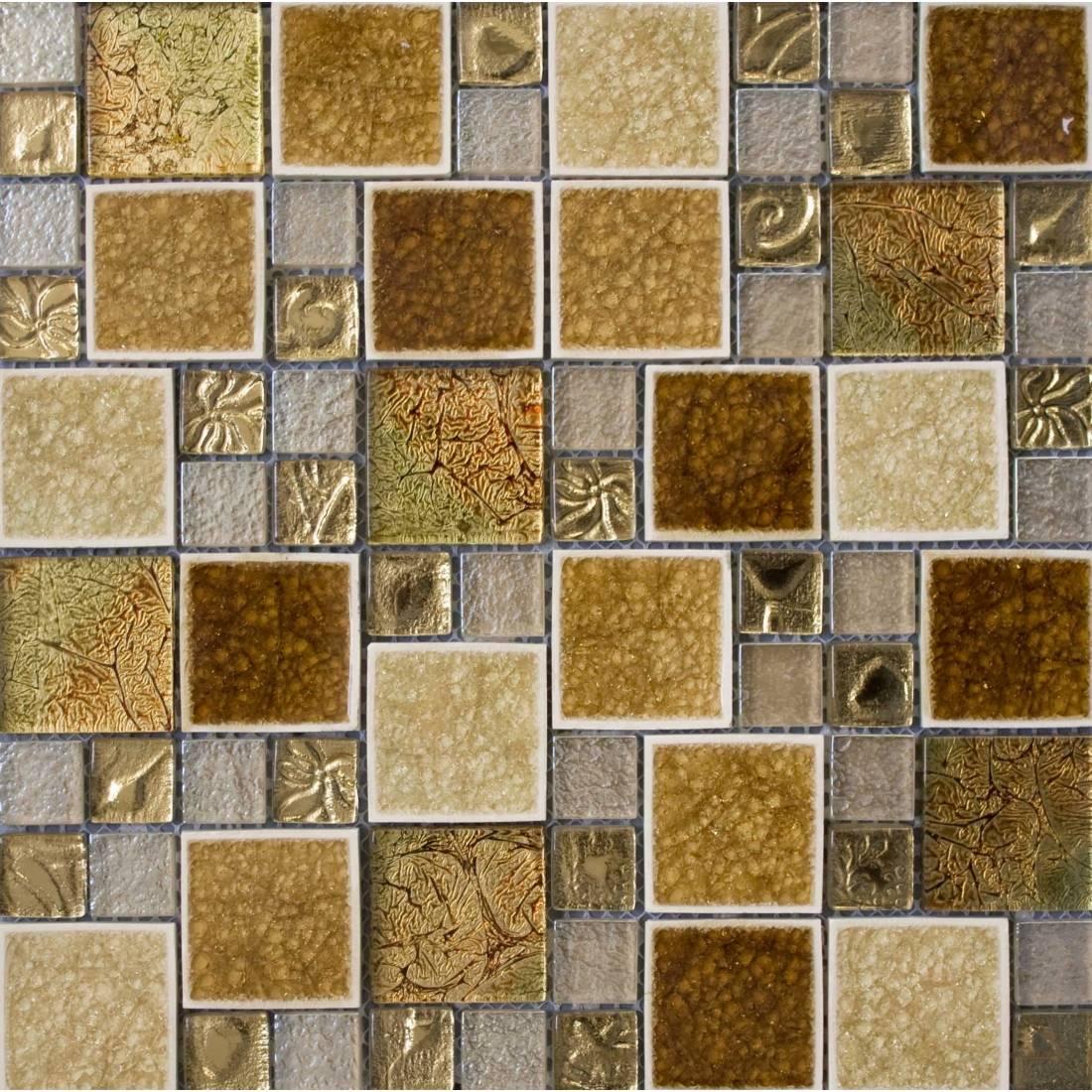 Leaf Square Glass 30x30 Gold 1